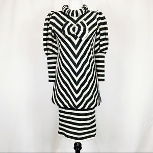 Vintage 80s Unique Striped Sweater Clown Dress L
